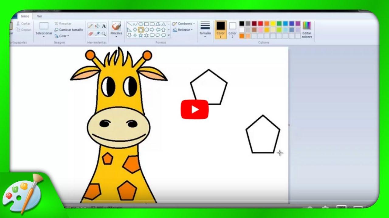 Dibujos Para Niños: Cómo Dibujar Una Jirafa Con Paint