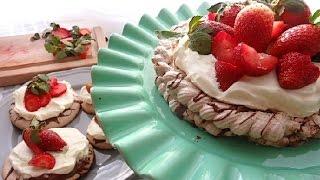 Chocolate Nutella Strawberry Pavlova Cakes  12 Days of Xmas