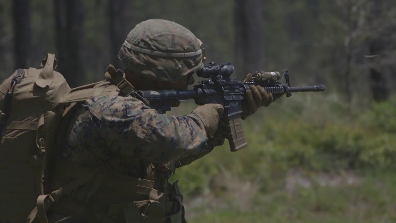 US Marines In Squad Live Fire Field Exercise