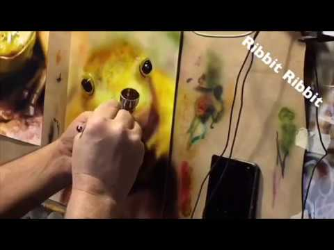 Painting tutorial, frog with airbrush techniques