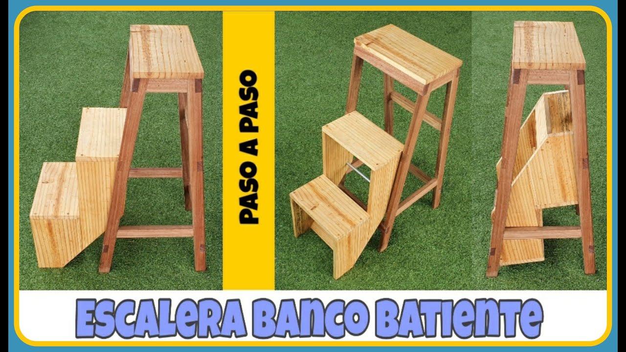 COMO hacer un banco escalera de madera PLEGABLE fácil ...