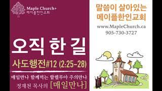 매일만나#12 오직 한 길 (사도행전 2:25-28) | 정재천 담임목사 | 말씀이 살아있는 Maple Church