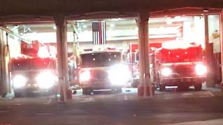 JERSEY CITY FIRE DEPARTMENT ENGINE 10, ENGINE 5 & LADDER 6 RESPONDING FROM QUARTERS ON PARK AVENUE.