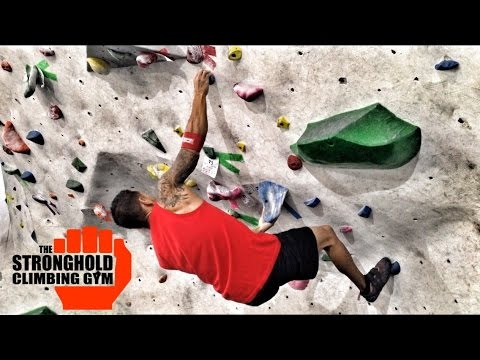 Indoor Rock Climbing V3 Bouldering At The Strong Hold Climbing Gym Los Angeles Ca
