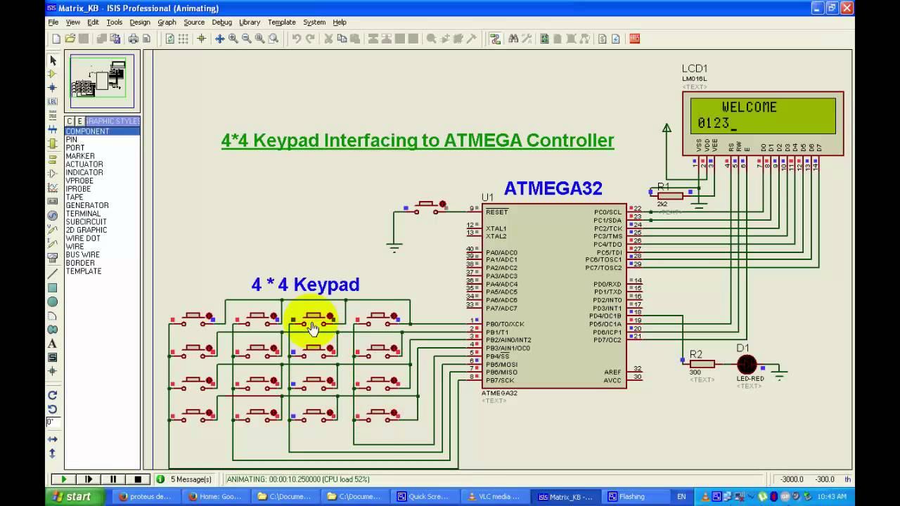 44 Matrix Type Keyboard Interfacing To Microcontroller Atmega32 Gsm Modem With 8051 At89c51
