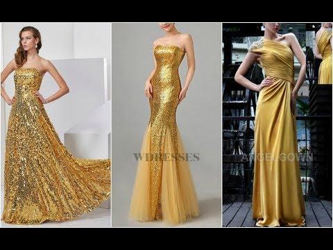 Glamorous Long Gold Evening Dresses