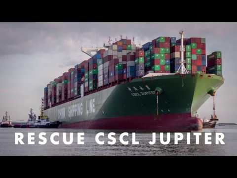 Rescue stranded CSCL JUPITER containership - timelapse