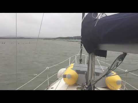 Moored safely in Newtown Creek, IoW after dragging our anchor 02/08/2017