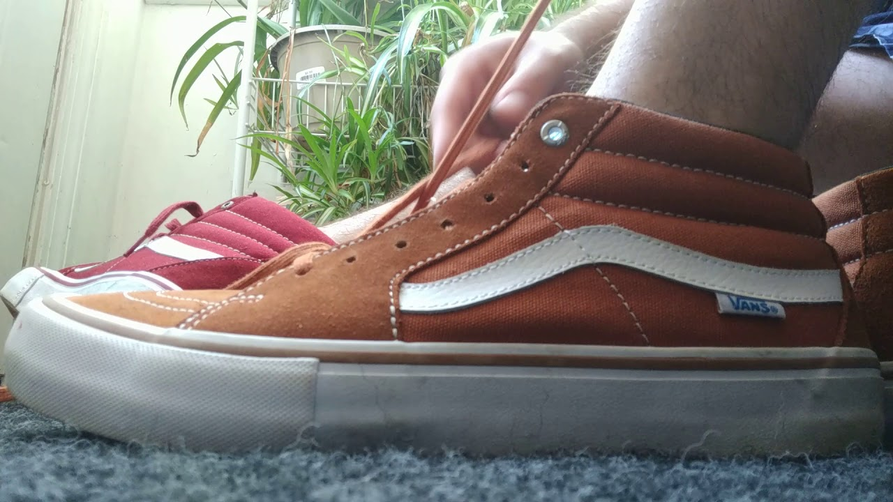 8872dc7634 Relacing And Crushing My Vans Pro Model Sk8 Mid and High Skateboarding Shoes