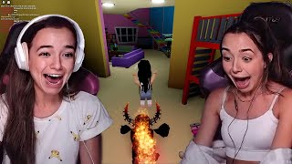 We got chased by a monster in Roblox - Merrell Twins Live Highlight