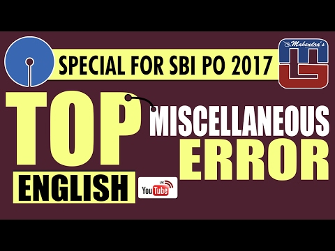 SBI PO 2017 | TOP MISCELLANEOUS ERROR QUESTIONS | ENGLISH |