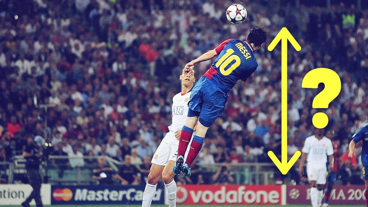 How high did Messi jump when he scored against Manchester United? | Oh My Goal