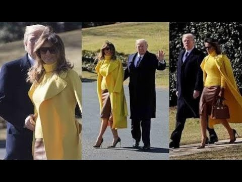 Trump embraces canary yellow-clad Melania as he walks her to Marine One in pointed show o USUK News