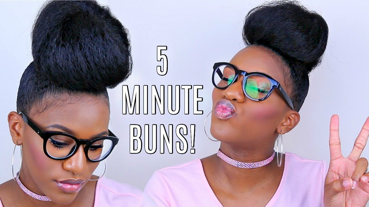 5 Bun Protective Styles On Short Natural Hair Glasses Youtube