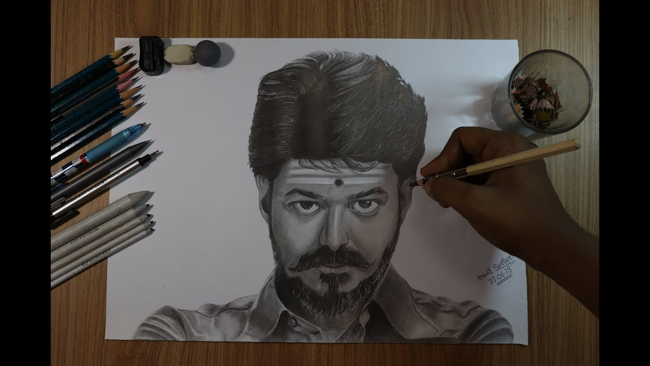 How To Draw Vijay In Mersal Youtube
