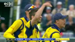 Tim Bresnan AMAZING catch and Mark Wood SMASHING helmets! Durham v Yorkshire