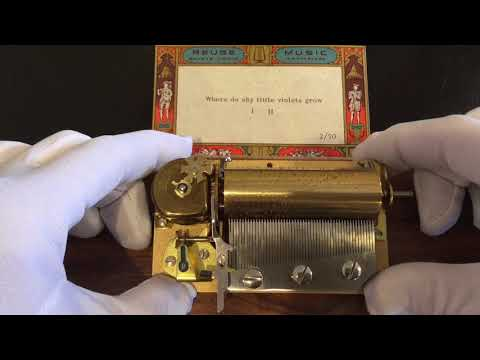 Reuge 2 song 50 note music box movement, plays Where Do Shy Little Violets Grow 2 parts