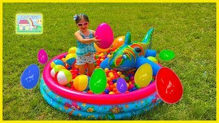 Huge Eggs Surprise Hunt in Kids Pool Ball Pit w/ Shark Toy! Outdoor Play
