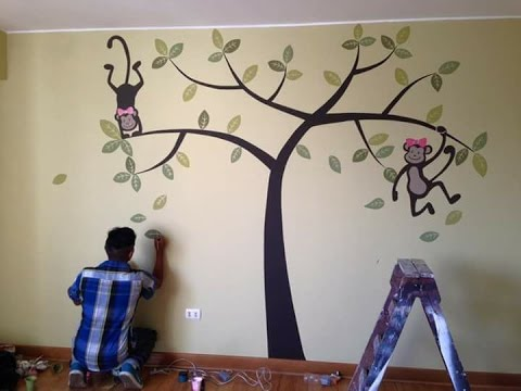 Como decorar una pared para habitacion de bebes ideas pintando monitos youtube - Como pintar un mural infantil en la pared ...