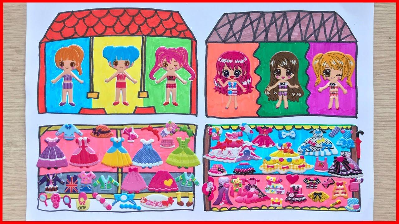 Sticker dán hình kể chuyện ngôi nhà búp bê, vẽ và tô màu – Sticker doll (Chim Xinh)