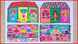 Sticker dán hình kể chuyện ngôi nhà búp bê, vẽ và tô màu - Sticker doll (Chim Xinh)
