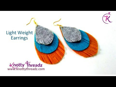 DIY Light Weight Feather Earrings in less than 5 mins | No Sew / No Glue | www.knottythreadz.com