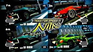 Wii Need for Speed: Nitro G1, 4P local splitscreen, performance cars practice play.