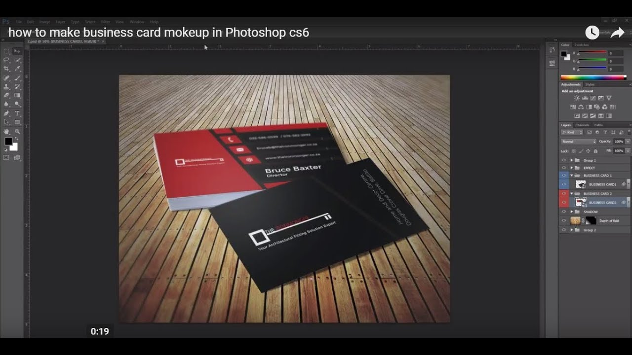 How to make business card mokeup in photoshop cs6 youtube colourmoves Images