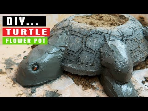 DIY Turtle Flower Pot From Sand And Cement //  DIY Concrete Pot For Garden
