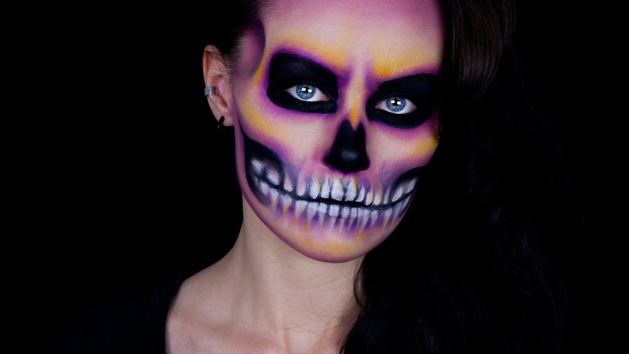 halloween colourful skull makeup tutorial youtube - Skull Faces Halloween