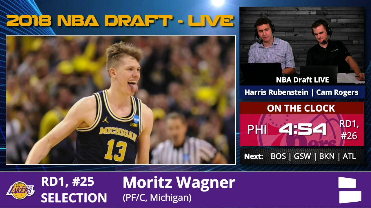 f64a40d7aa2 Los Angeles Lakers Select Moritz Wagner From Michigan With Pick #25 In 1st  Round Of 2018 NBA Draft