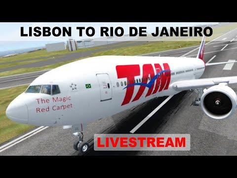 [FSX] LONG HAUL FLIGHT LISBON (LPPT) RIO DE JANEIRO (SBGL)   TAM AIRLINES  B777LR   IVAO LIVESTREAM