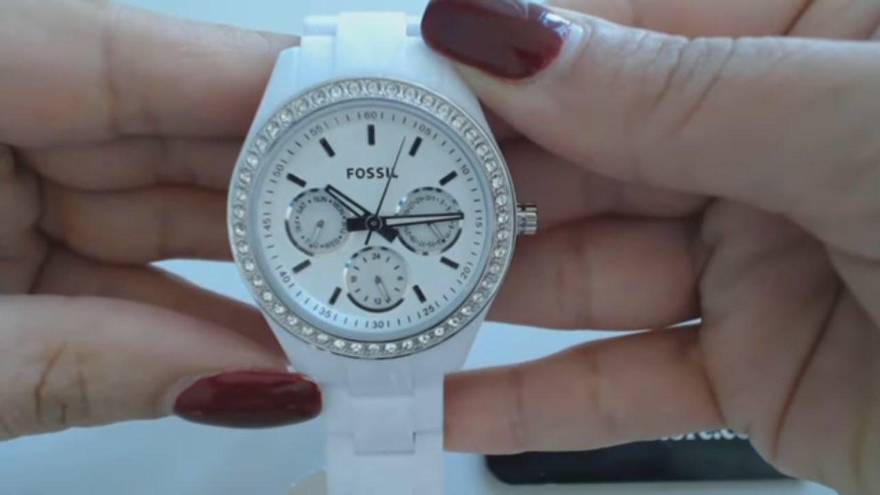 Women's White Fossil Multifunction Glitz Watch ES1967 ...