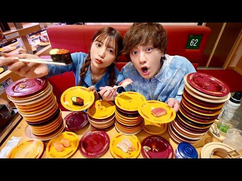 【100貫越え】寿司の皿を1m積み上げるまで帰れません!!【大食い】【帰れま10】