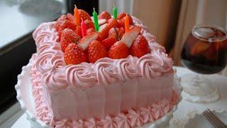 노색소 딸기 초코 생크림 케이크 만들기 Strawber…