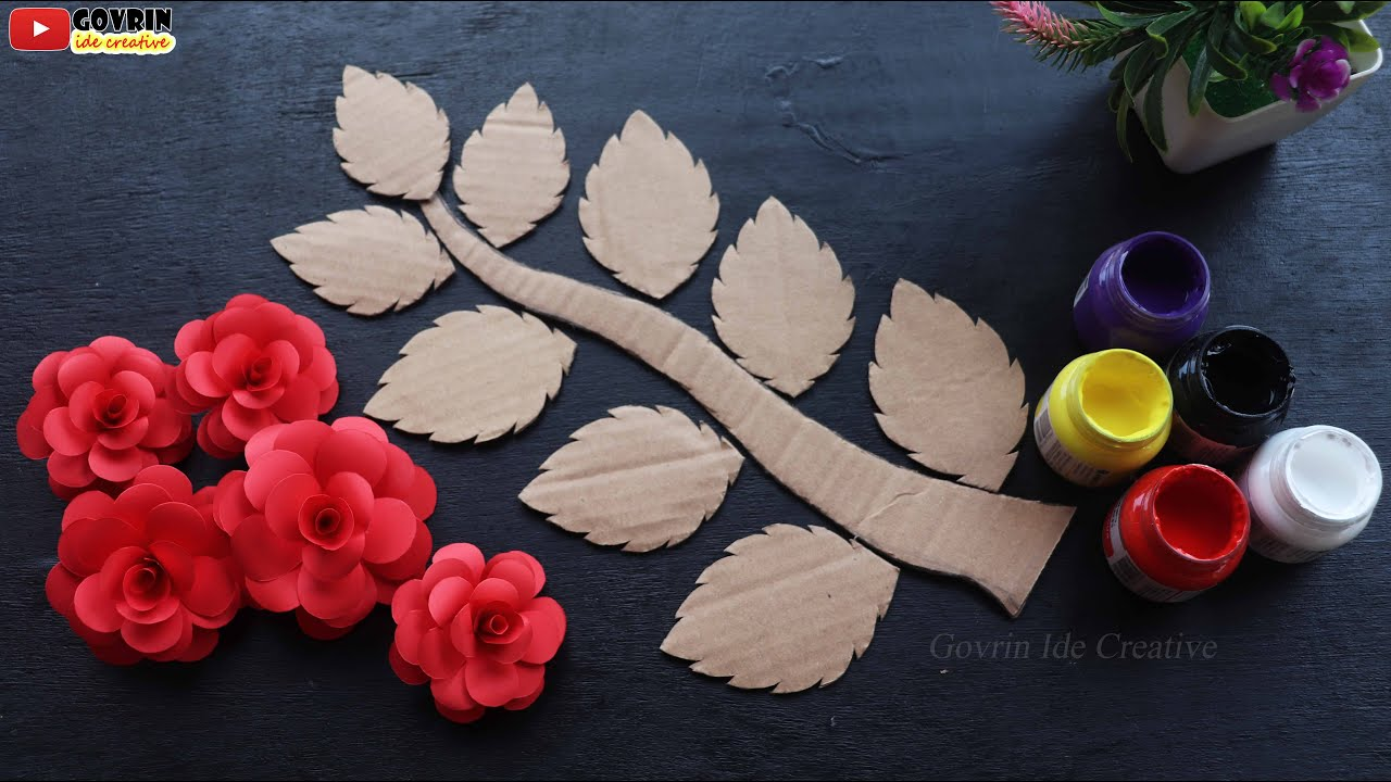 Rose wall hanging crafts | Best out of waste cardboard | Paper flower wall decor | Home decor ideas