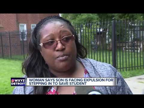 Woman says son is facing expulsion for stepping in to save student