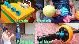 4 Awesome 1/Air Cooler 2/Dumbbells weight 3/Punching Bag 4/Ab Wheel Rollout For Exercises At Home