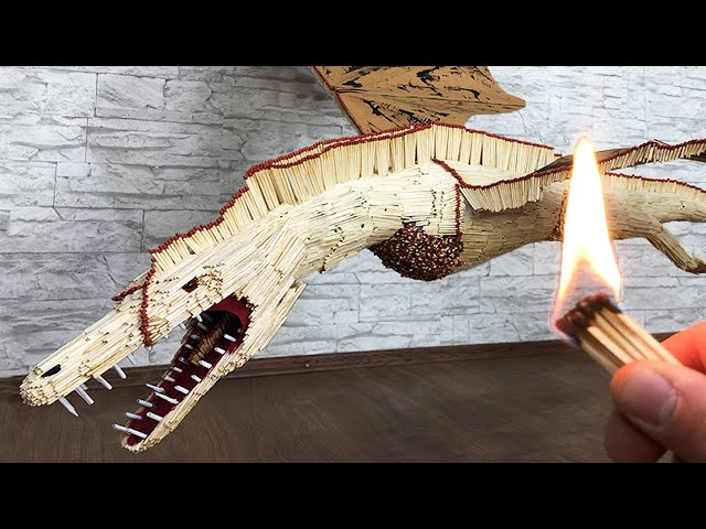Game of Thrones Dragon DRACARYS from matches! Matches Chain Reaction Amazing Fire Domino