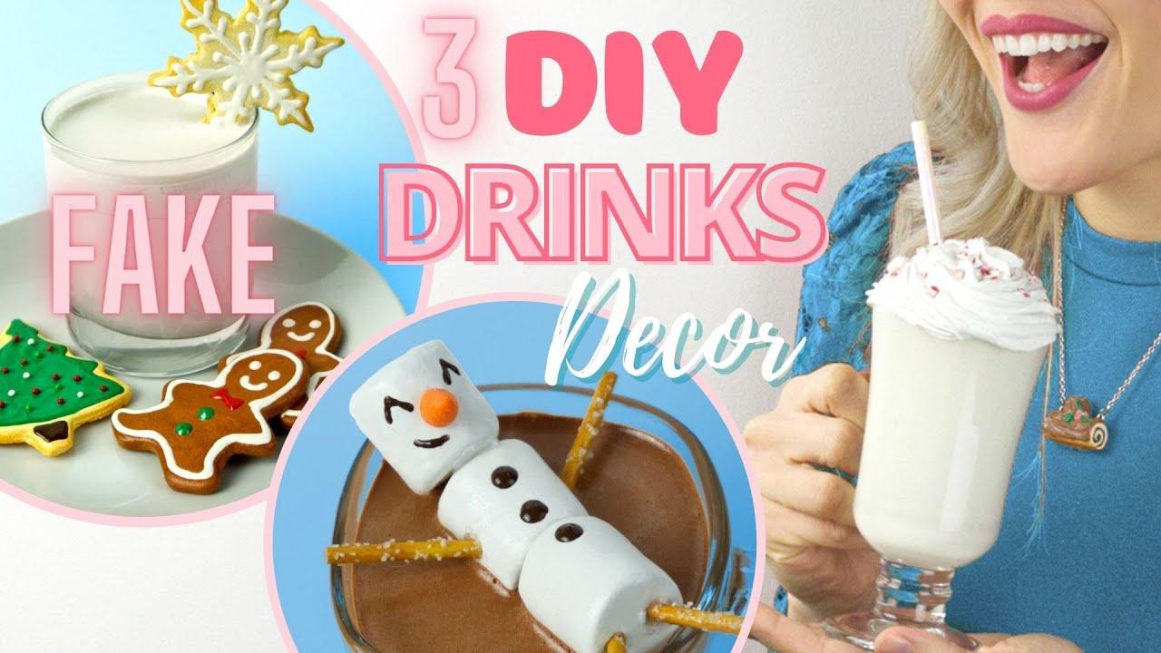 3 DIY FAKE Christmas Drinks - DIY Christmas Food Room Decor Part 2
