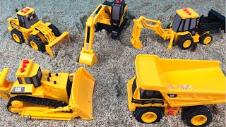 CAT Construction Mini Mighty Machines Excavator Bulldozer Dump Truck at Sand Job Site