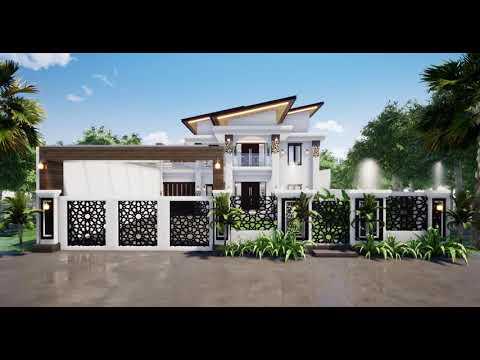 desain rumah minimalis modern tropis 2 lantai atap miring
