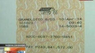 NTG: PCSO: Lone winner ng P250M sa Grand Lotto 6/55, kinuha na ang premyo