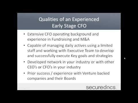 When Should An Early Stage Company Hire A CFO?   SecureDocs Webinar