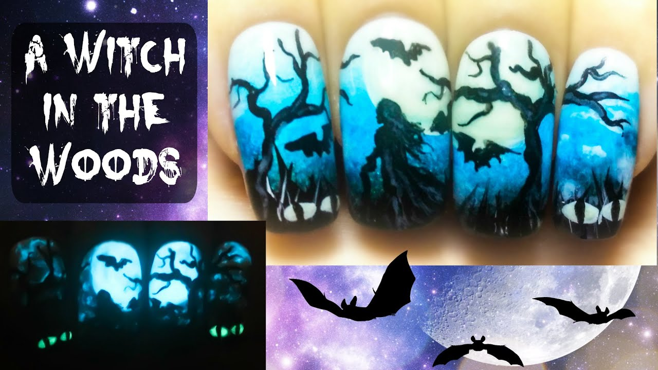 A Witch in the Woods ⎮ Halloween Glow in the Dark Freehand Nail Art ...