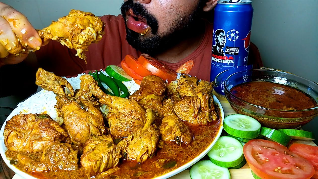 CHICKEN CURRY WIH RICE AND GRAVY EATING VIDEO #HungryPiran