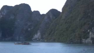 Vietnam - Halong Bay - Leaving Pearl Farm at Sunset