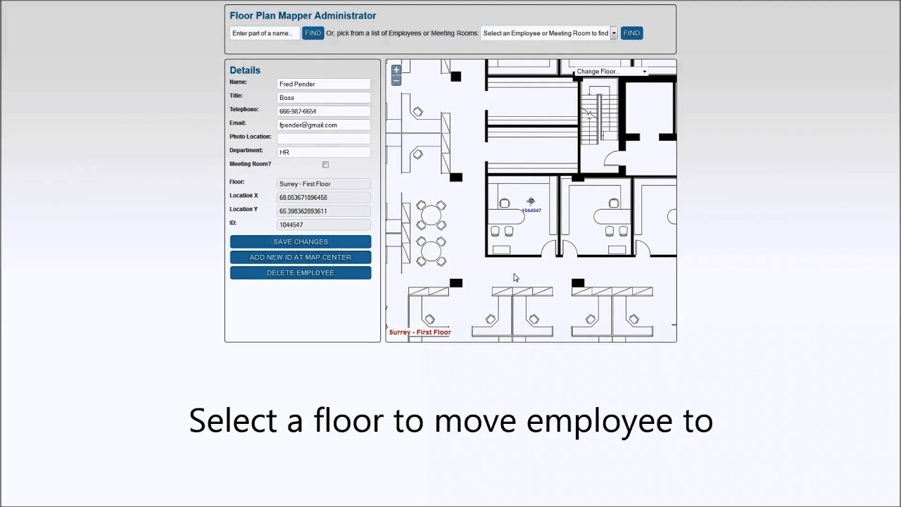 Managing employee seating locations on interactive office for Interactive office floor plan