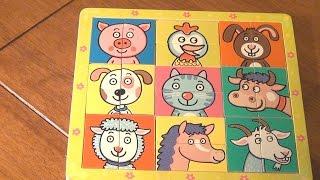 Распаковка игры Пазл Сложи голову животным Bino 88093