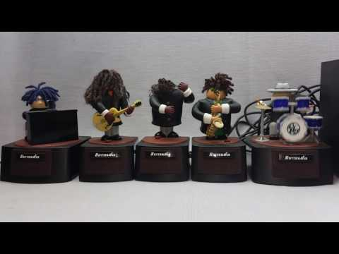 Retired RHYTHM JAM BAND Motion Music Box Figurines Plays 20 Songs 2003 Bandai